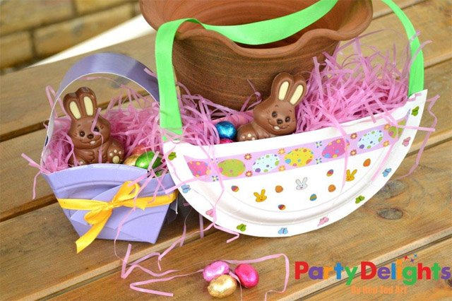 Paper plate easter baskets easy easter craft party delights blog paper plate easter baskets negle Choice Image