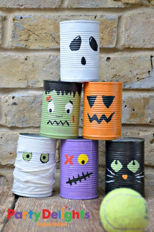 Halloween party activity tin can bowling party delights for Tin cans for crafts