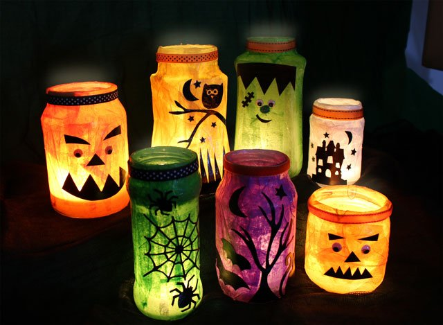 halloween decorations jam jar lanterns - How To Make Halloween Lanterns