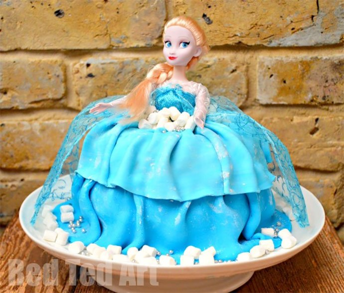Elsa Barbie doll cake by Red Ted Art
