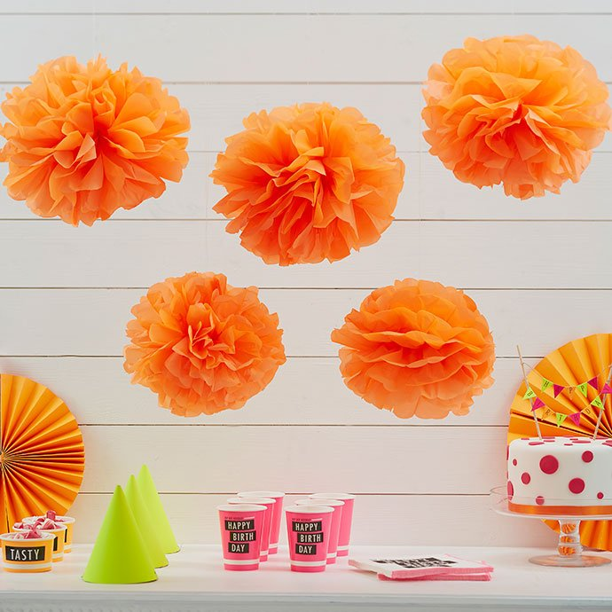 Orange Pom Poms for a Birthday Party