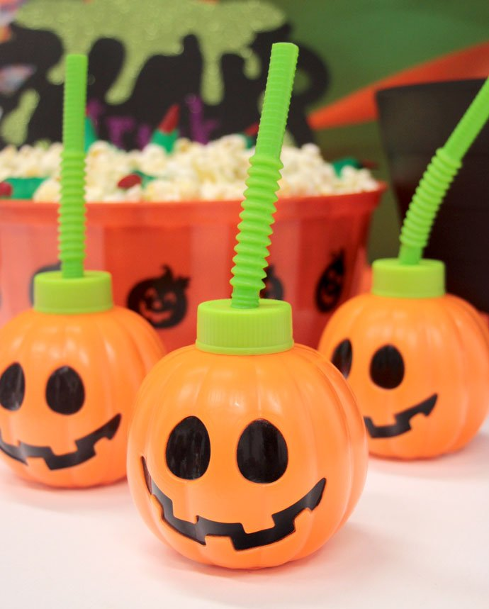 Pumpkin Cups with Straws