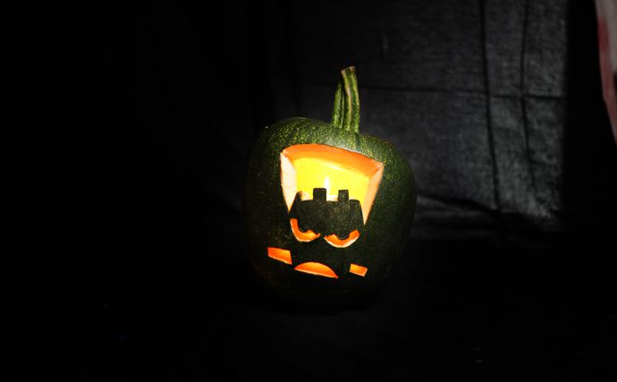 Easy Frankenstein Pumpkin with a Stencil