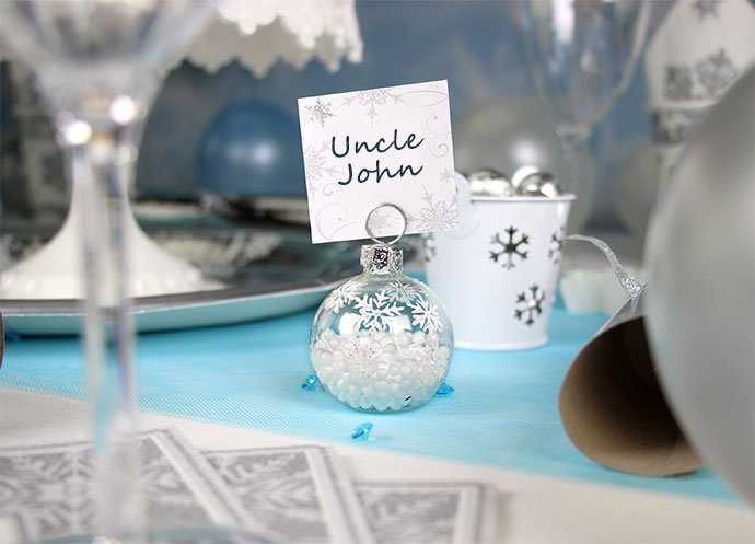 Snowflake Party Place Card Holders & How to Throw a Magical Winter Wonderland Party | Party Delights Blog