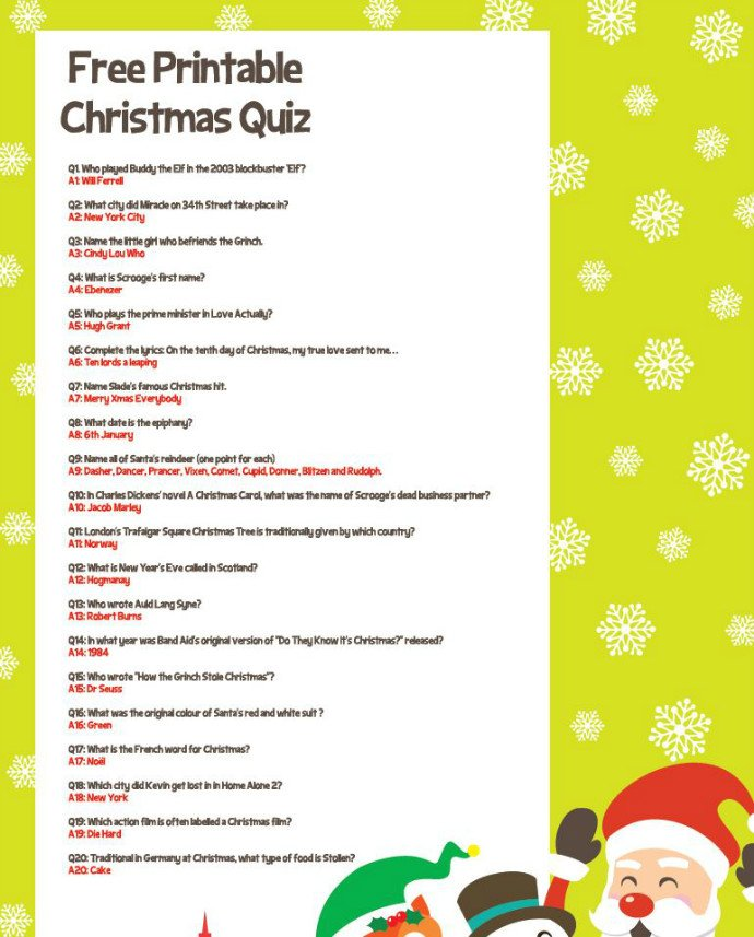 Free Printable Christmas Quiz