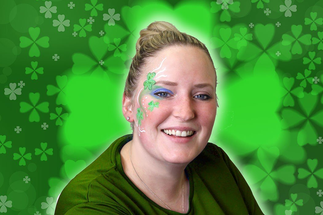 St Patrick's Day Shamrock Face Paint Design