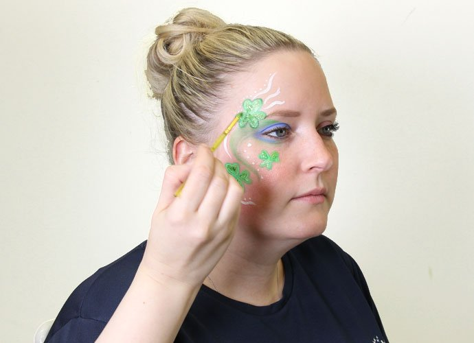 St Patrick's Day Shamrock Face Paint Step 6