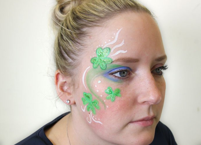 St Patrick's Day Shamrock Face Paint Step 7