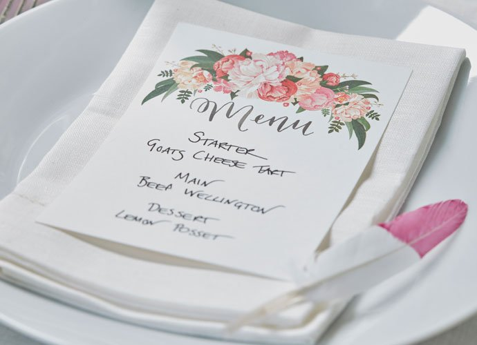 Boho Chic Wedding Menu Cards