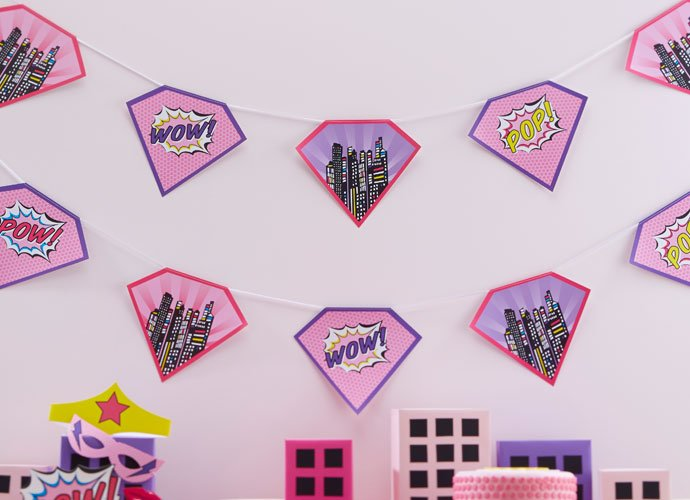Pink Comic Book Superhero Bunting