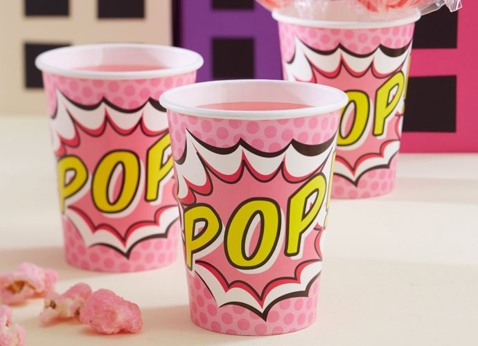 Pink Comic Book Superhero Cups