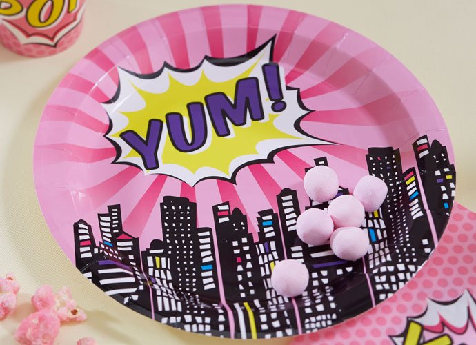 Pink Comic Book Superhero Party Plates