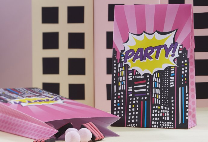 Pink Comic Book Superhero Treat Bags