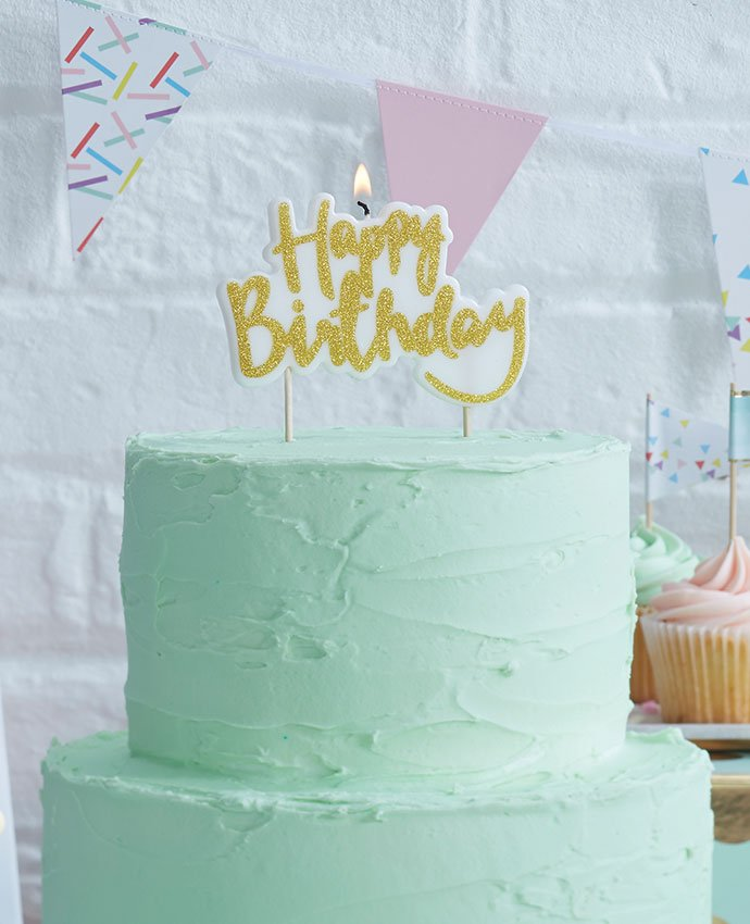 Pastel Green Birthday Cake With Gold Happy Birthday Cake Topper