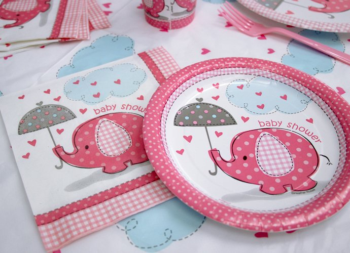 elephant baby shower tableware