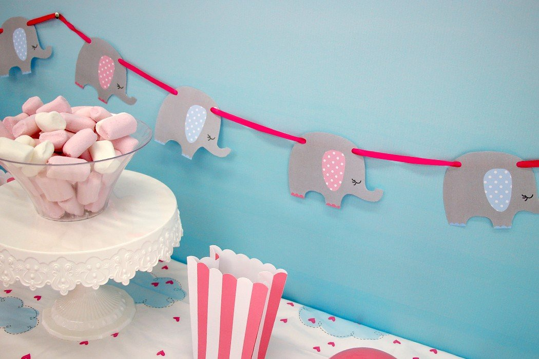 free printable elephant baby shower bunting party delights blog. Black Bedroom Furniture Sets. Home Design Ideas