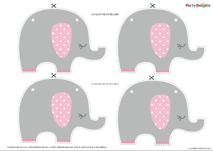 Attractive Pink Elephant Baby Shower Bunting