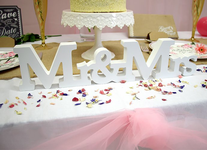 Pretty simple top table decorating ideas party delights blog wedding mr mrs sign junglespirit Choice Image