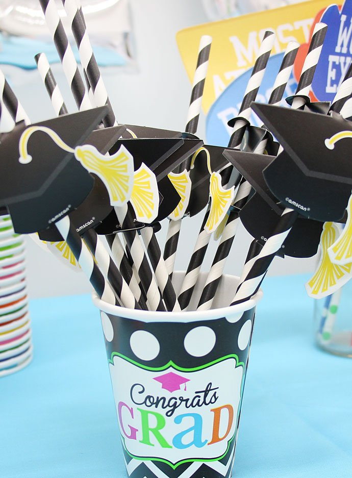 Graduation Mortar Hat Straw Toppers