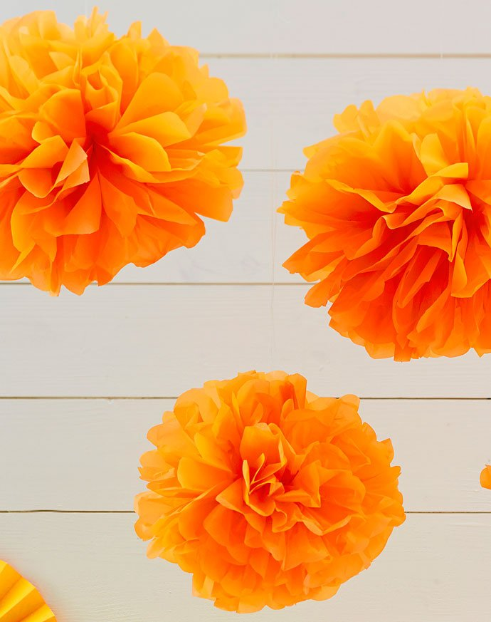 Neon Orange Pom Poms
