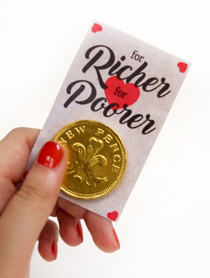 Vintage For Richer For Poorer Coin Wedding Favour