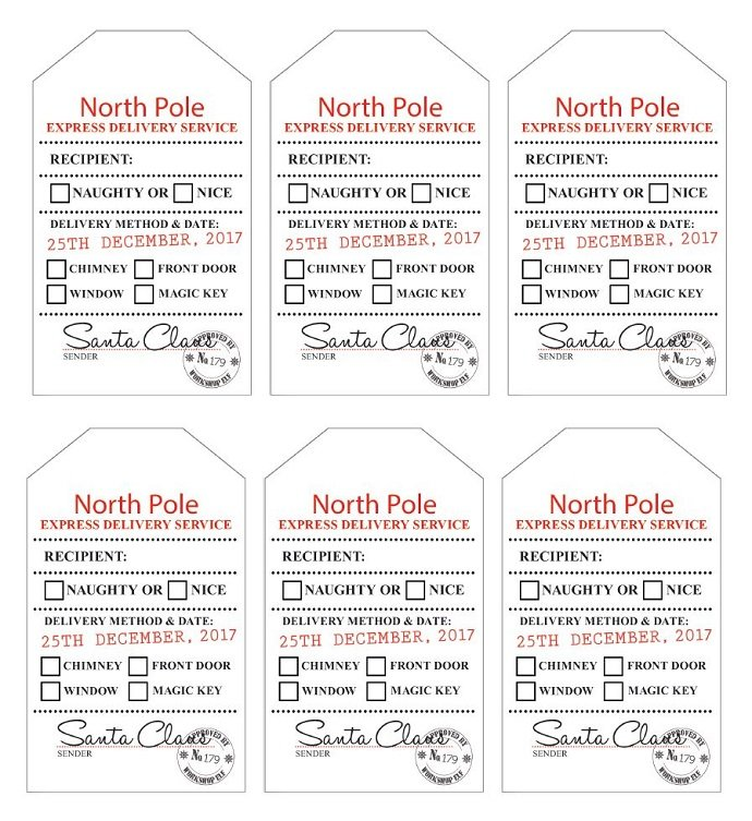 Free printable santa gift tags party delights blog santa gift tags 2017 negle Images