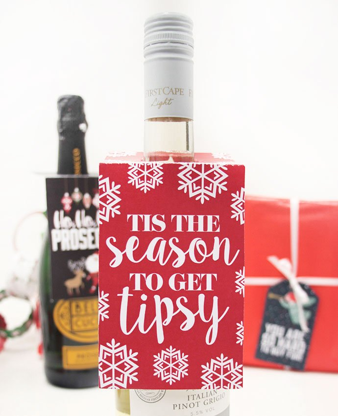 Tis the Season to Get Tipsy Wine Bottle Tag