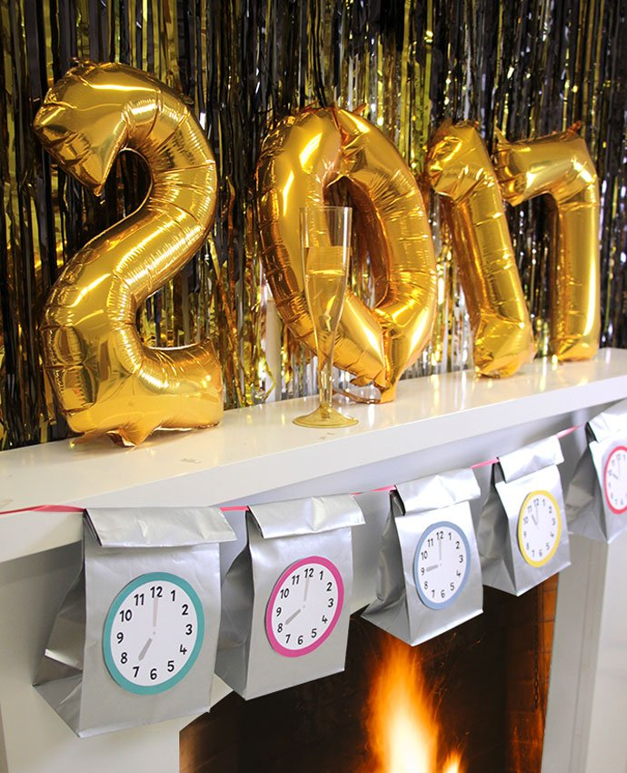 New Year's Eve Countdown Bags on Fireplace
