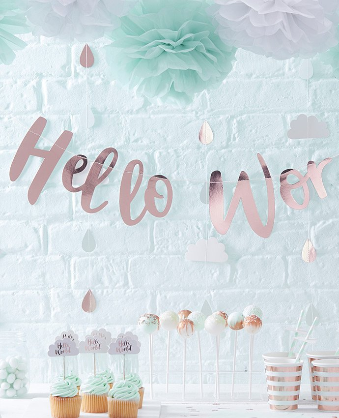 {Hello World} Metallic & Pastel Baby Shower Ideas | Party ...