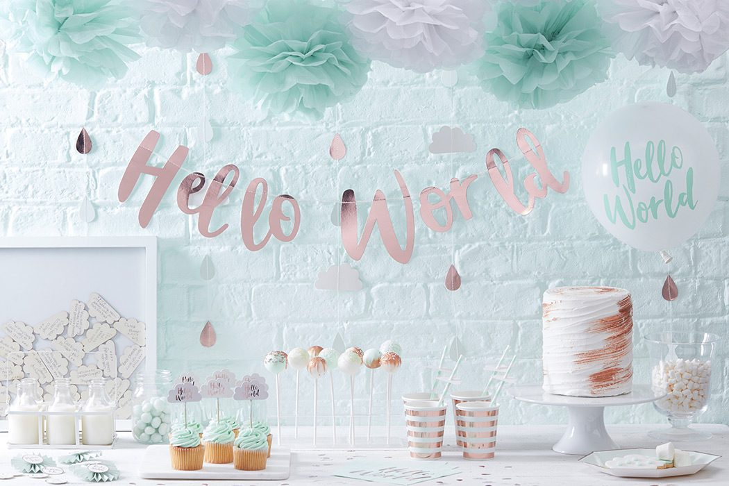 Hello World Rose Gold & Pastel Baby Shower