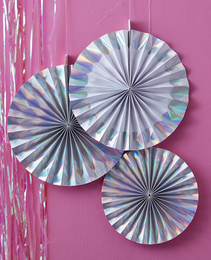 Iridescent Fan Decorations
