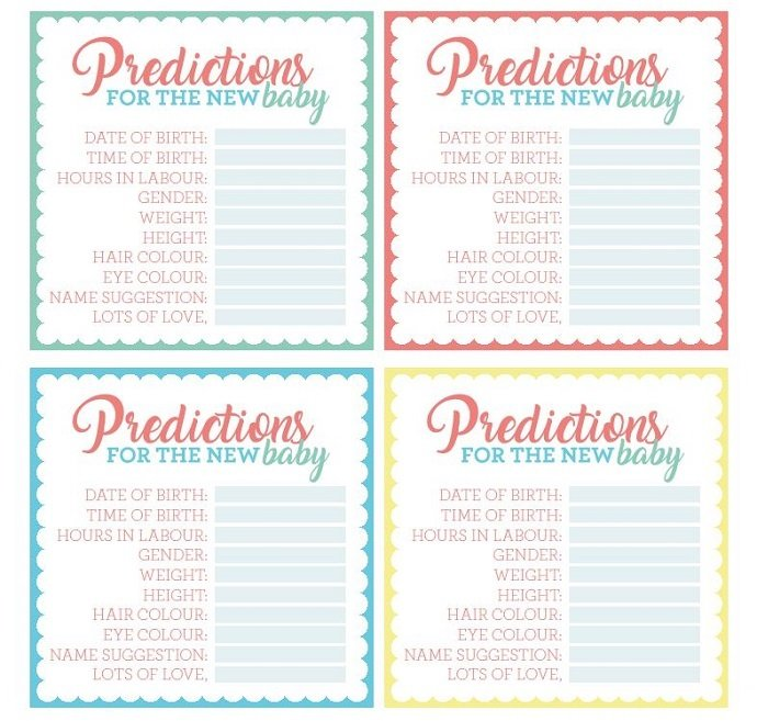 It is a photo of Sly Baby Prediction Cards Free Printable