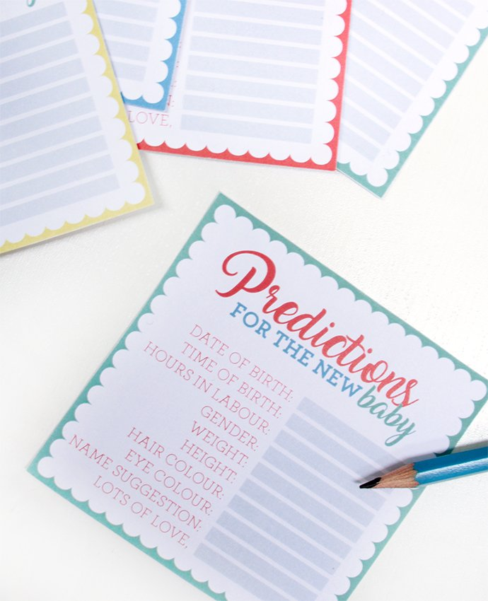 Baby Shower Prediction Cards