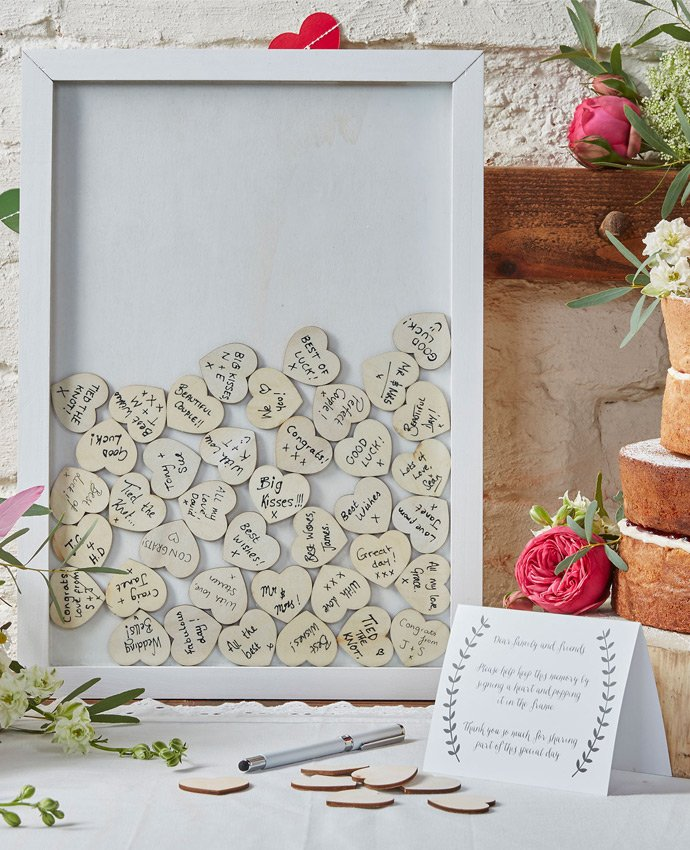 Picture Frame Guest Book with Wooden Hearts