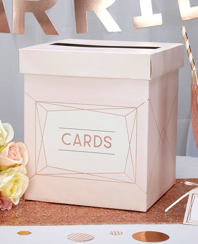 Pink Geometric Wedding Postbox