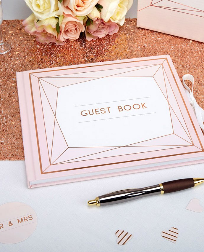 Rose Gold Geometric Guest Book