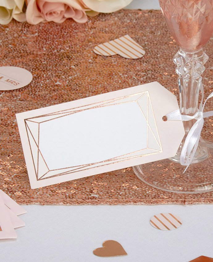Rose Gold Geometric Place Cards