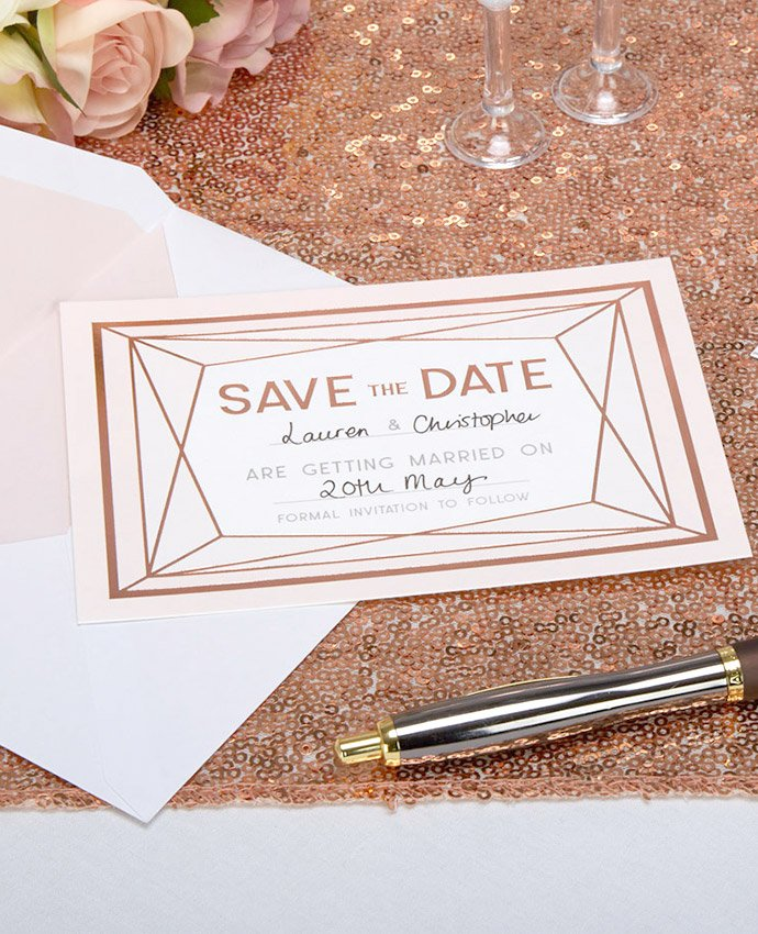 Rose Gold Geometric Save the Date Cards