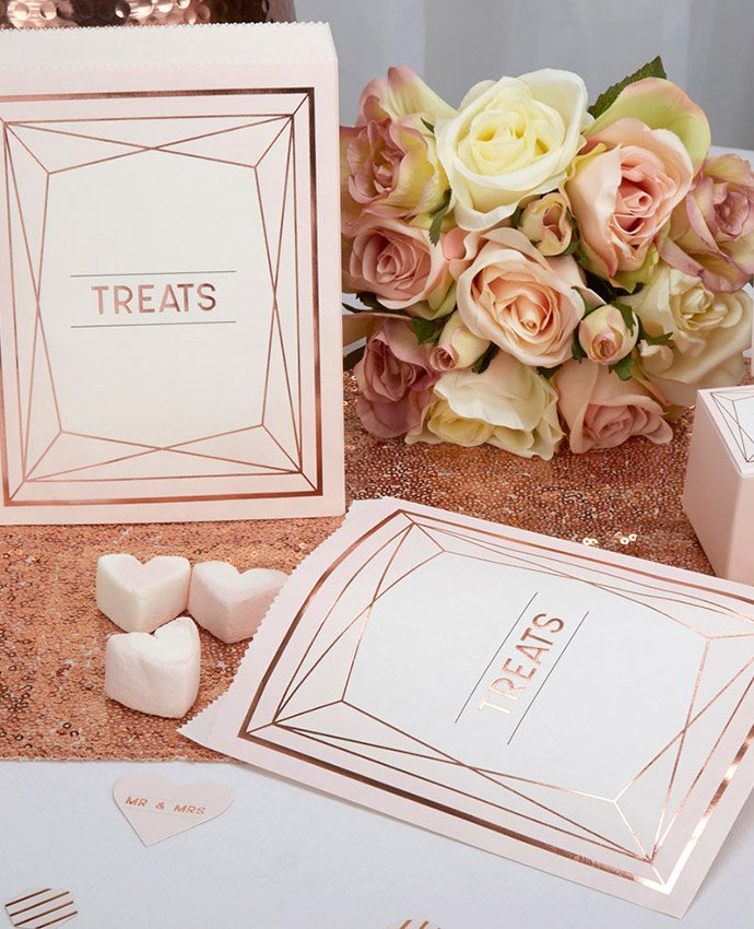 Rose Gold Geometric Treat Bags
