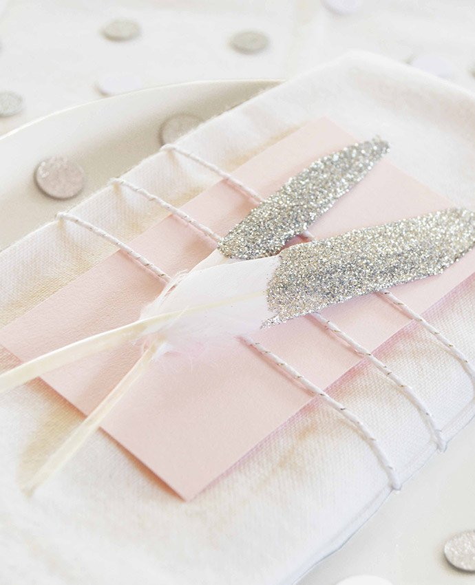 Silver Glitter Dipped Feathers