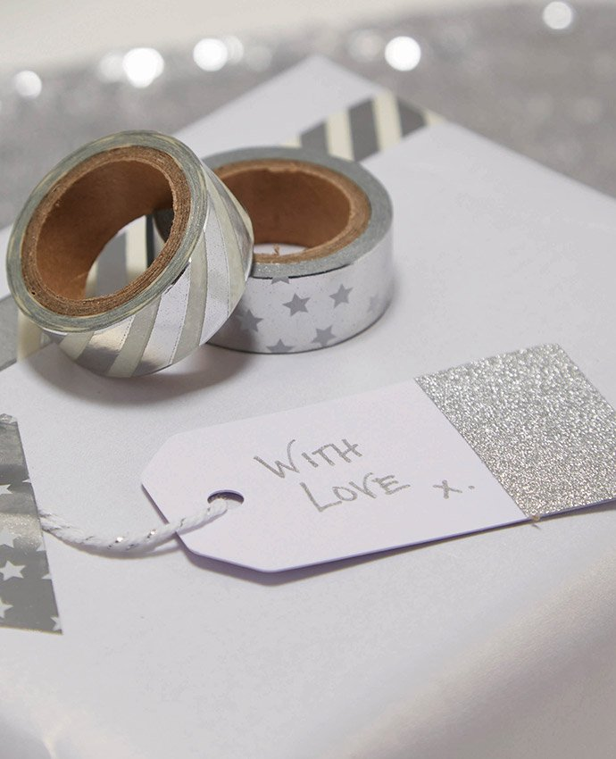 Silver Glitter Dipped Gift Tags