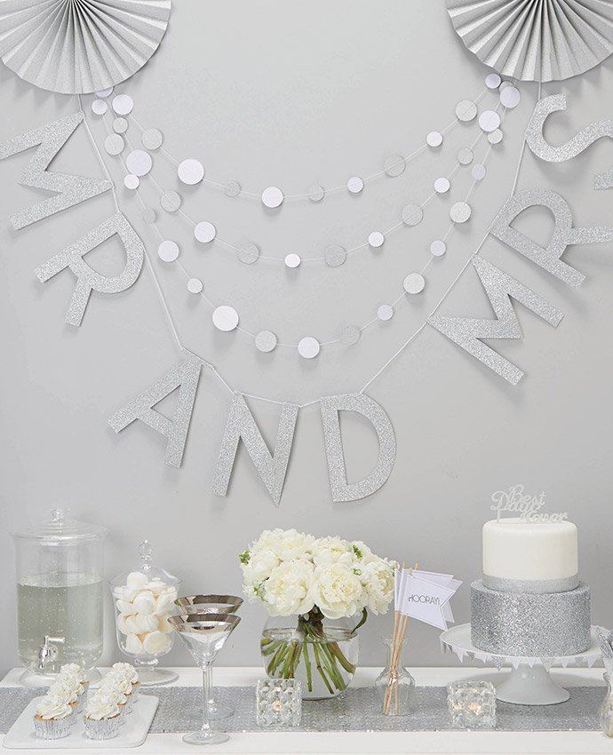 Silver Mr & Mrs Letter Bunting