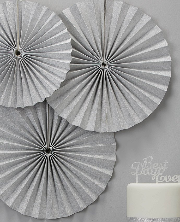 Silver Paper Fan Decorations