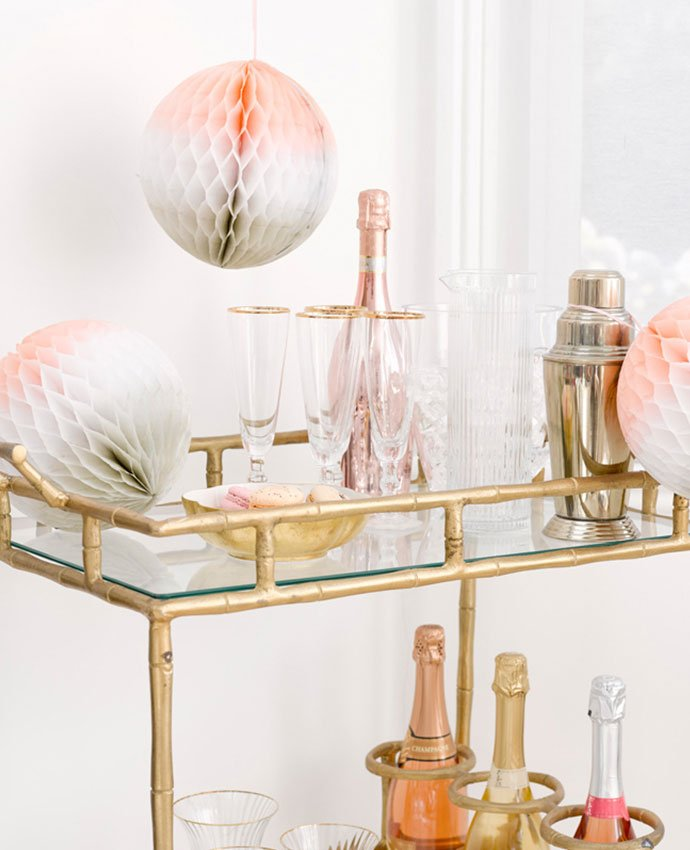 Drinks Trolley with Honeycomb Decorations