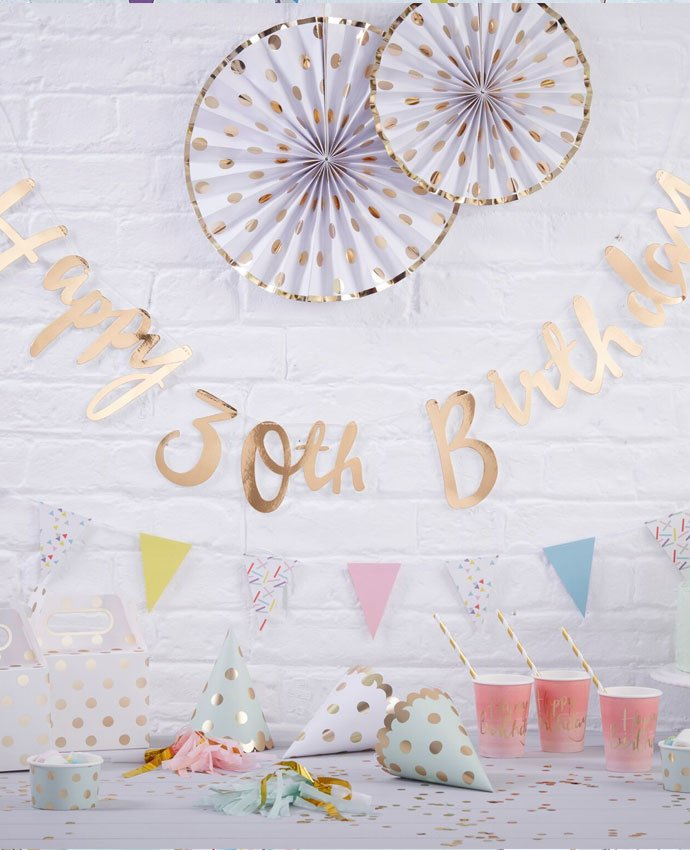 Gold Happy Birthday Letter Banner