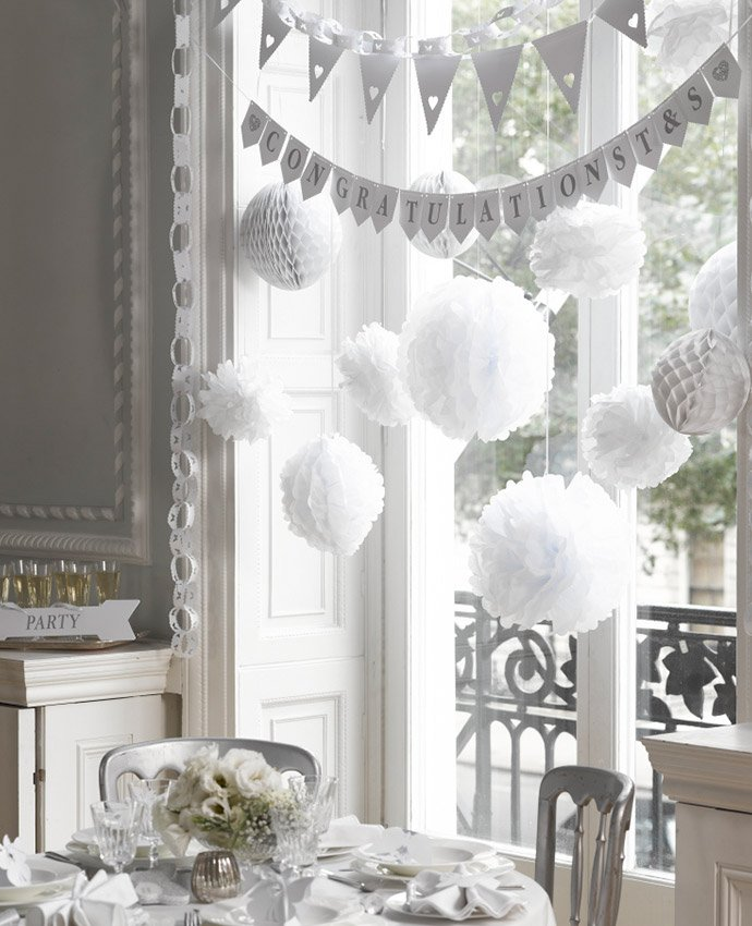 Inspiration for an all white wedding theme party delights blog white wedding decorations junglespirit Choice Image