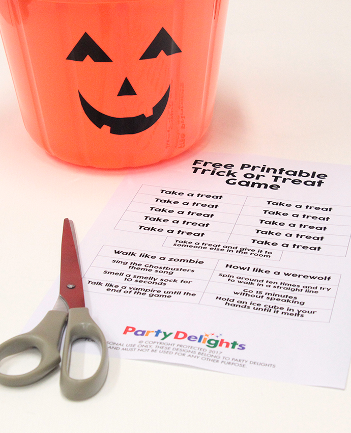 Free Printable Trick or Treat Game - What You Need