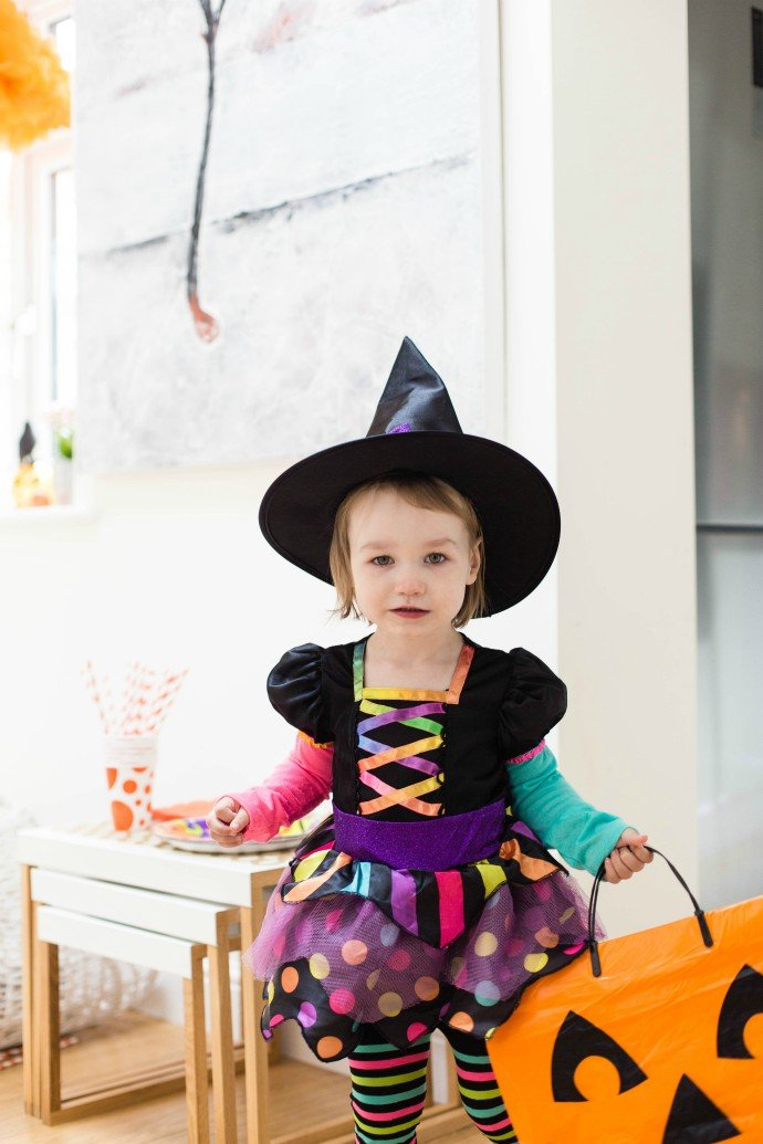 Witch Costume & Pumpkin Treat Bag