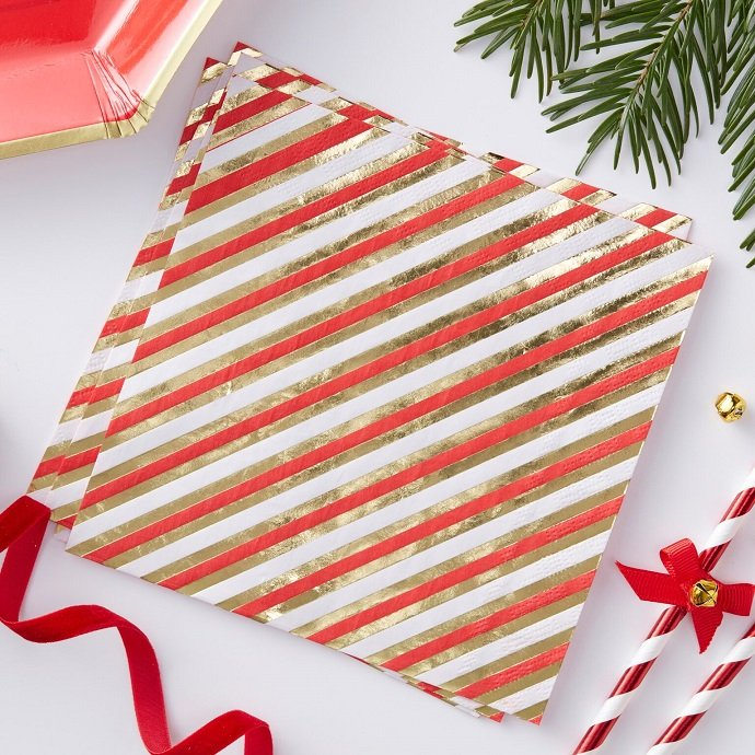 Red & Gold Christmas Napkins 2