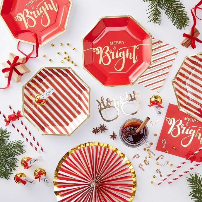 Red & Gold Christmas Party Supplies